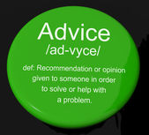 Advice Definition Button Showing Recommendation Help And Support — Stock Photo