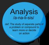Analiza definicji przycisk wyświetlone dociekliwe badania lub badania — Zdjęcie stockowe