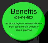 Benefits Definition Button Showing Bonus Perks Or Rewards — Stock Photo