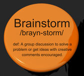 Brainstorm Definition Button Showing Research Thoughts And Discu — Stok fotoğraf