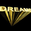 Dreams Text In Gold And 3d As Symbol For Imagination And Wishes — Stock Photo