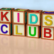 Blocks Spelling Kids Club As Symbol for Childrens Fun - Stock Photo