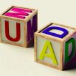 Kids Blocks Spelling Mum And Dad As Symbol for Parenthood — Stock Photo