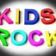 Letters Spelling Kids Rock As Symbol for Childhood And Children — 图库照片
