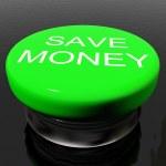 割引やプロモーションのための記号としてお金のボタンを保存します。 — ストック写真