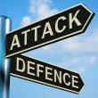 Stock Photo: Attack Or Defence Directions On Signpost
