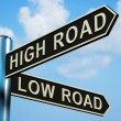 Stock Photo: High Or Low Road Directions On Signpost
