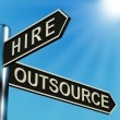 Hire Or Outsource Directions On A Signpost — 图库照片