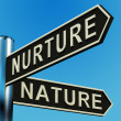 Nurture Or Nature Directions On A Signpost - Stock Photo