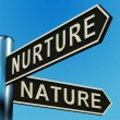 Stock Photo: Nurture Or Nature Directions On Signpost