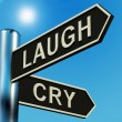 Stock Photo: Laugh Or Cry Directions On Signpost