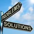 Problems Or Solutions Directions On A Signpost — Stock Photo
