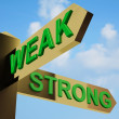 Weak Or Strong Directions On A Signpost - Stock Photo