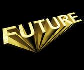 Framtida text i guld och 3d som symbol för förbättring och möjlig — Stockfoto