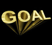 Goal Text In Gold And 3d As Symbol For Aiming And Target — Stock Photo