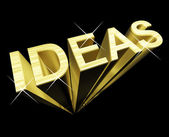 Ideas Text In Gold And 3d As Symbol For Thought And Inspiration — Stock Photo