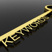 Key With Keywords Text As Symbol For SEO Or Optimization — Stock Photo