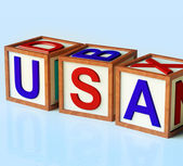 Blocks Spelling Usa As Symbol for America And Patriotism — Stock Photo