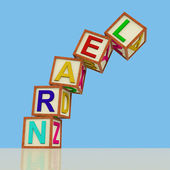 Kids Blocks Spelling Learn Falling Over As Symbol for Study And — Stock Photo