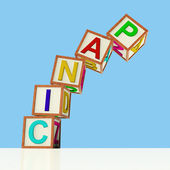 Blocks Spelling Panic Falling Over As Symbol for Emergency And S — Stock Photo