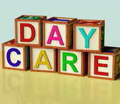 Kids Blocks Spelling Day Care As Symbol for Preschool and Kinder — Stock Photo