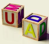 Kids block stavning mamma och pappa som symbol för föräldraskap — Stockfoto