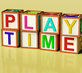 Kids Blocks Spelling Play Time As Symbol for Fun And School — Stock Photo