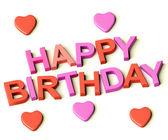 Cartas ortografia feliz aniversário com corações como símbolo para celebr — Foto Stock