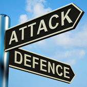 Attack Or Defence Directions On A Signpost — Stock Photo
