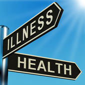 Illness Or Health Directions On A Signpost — Stock Photo