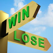 Win Or Lose Directions On A Signpost — Stock Photo