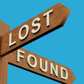 Lost Or Found Directions On A Signpost — Stock Photo
