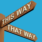 This Or That Way Directions On A Signpost — Stock Photo