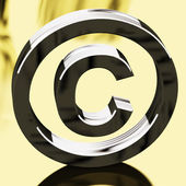 Silver Copyright Sign Representing Patent Protection — Stock Photo