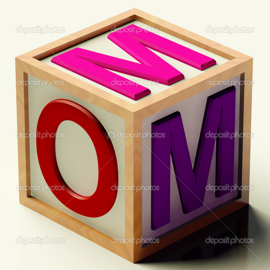 Kids Wooden Block Spelling Mom As Symbol for Motherhood And Parenting  Stock Photo #8052013