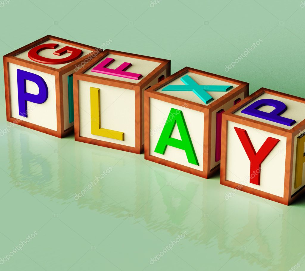 kids blocks spelling play as symbol for fun and school stock photo