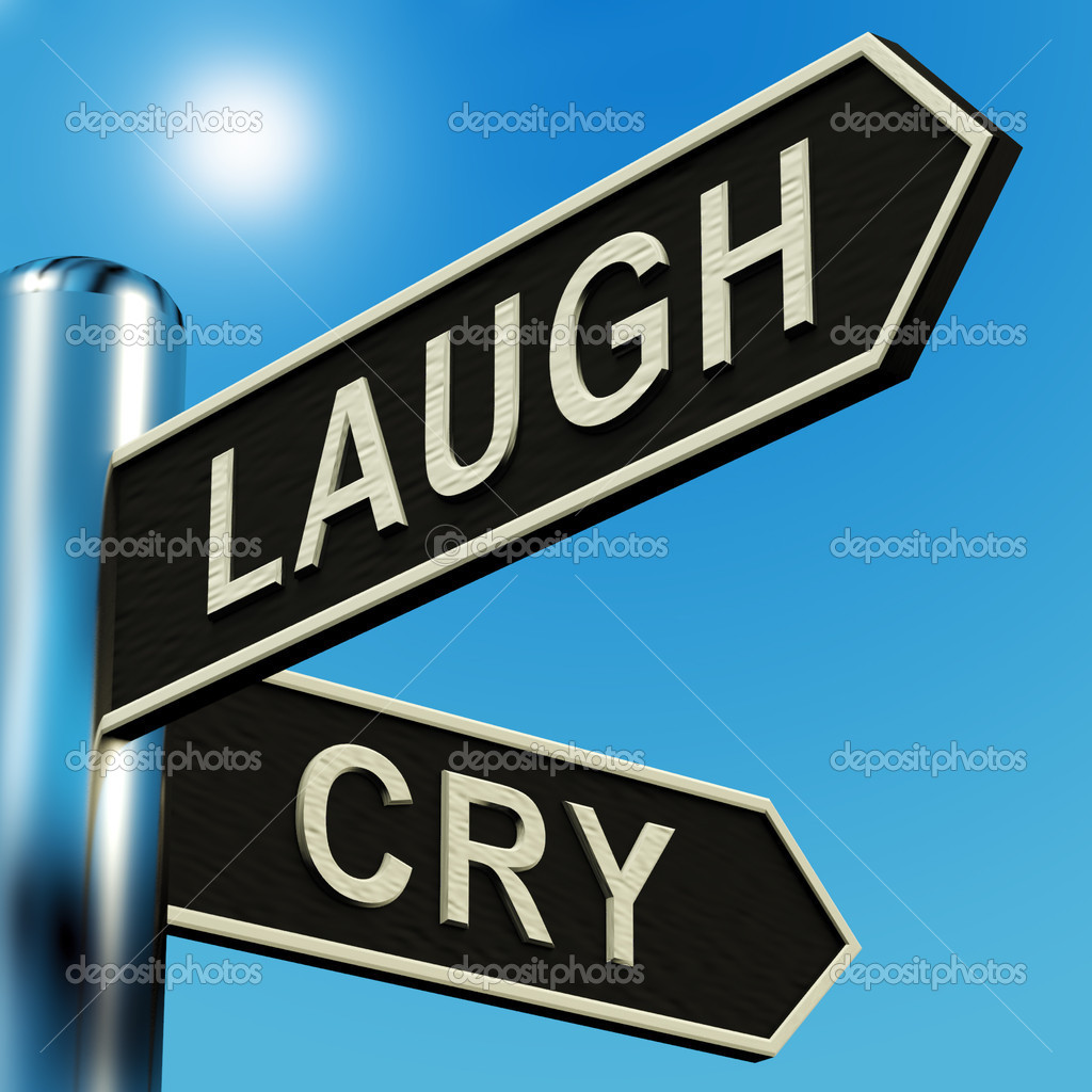Laugh Or Cry Directions On A Metal Signpost — Stock Photo #8052613