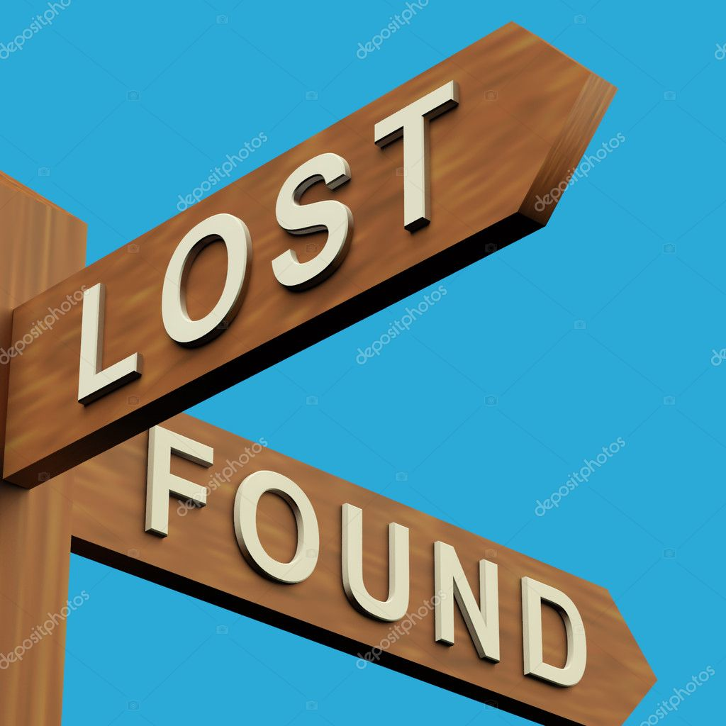 Lost Or Found Directions On A Wooden Signpost — Stock Photo #8052878
