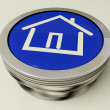 House Or Home Icon Metallic Button For Real Estate - Stock Photo
