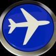Airplane Icon Or Button Expressing Travel Or Airport — Stock Photo