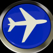 Airplane Icon Or Button Expressing Travel Or Airport - Stock Photo