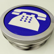 Telephone Icon Or Metallic Button As Symbol For Calling Or Phone — Stock Photo