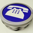 Telephone Icon Or Metallic Button As Symbol For Calling Or Phone - Stock Photo