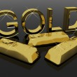 Stockfoto: Gold Letters And Bars As Symbol For Wealth Or Riches