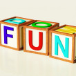 Kids Blocks Spelling Fun As Symbol for Enjoyment And Playing — Stock Photo