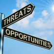 Threats Or Opportunities Directions On A Signpost — Stock Photo