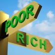 Poor Or Rich Directions On A Signpost — Stock Photo