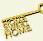Key With Sweet Home Text As Symbol For Property And Ownership — Stock Photo