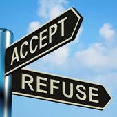 Accept Or Refuse Directions On A Signpost — Stock Photo