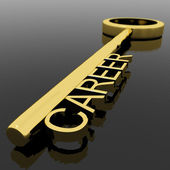 Career Text On A Gold Key With Black Background As Symbol Of New — Stock Photo